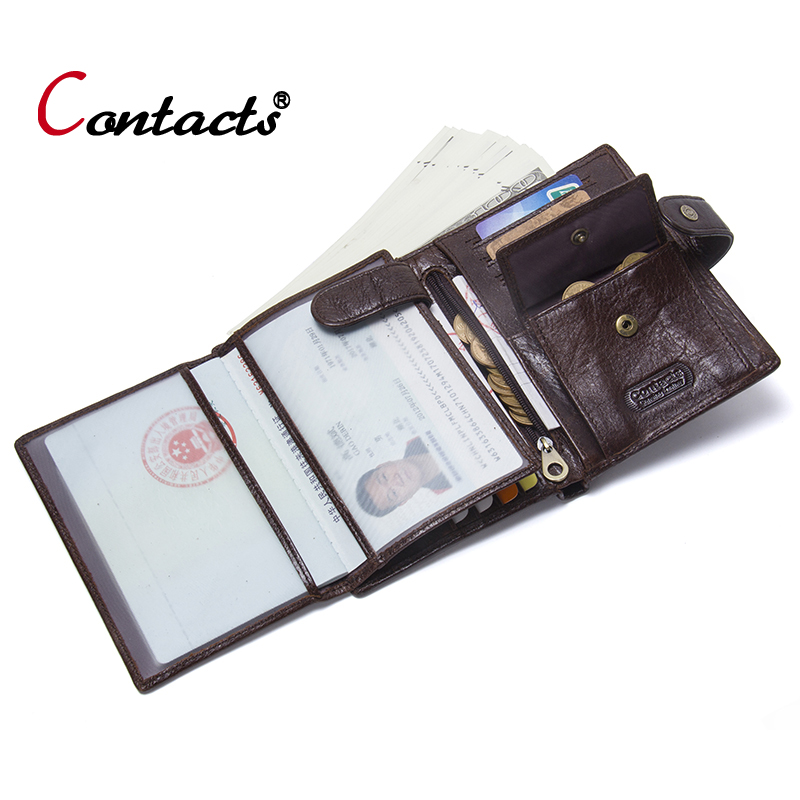 Contact's Passport Cover Genuine Leather Passport Holder Men Business Card Holder Male Wallet Coin Purse Travel Clutch Money Bag thinkthendo new male genuine cow leather wallet card package retro woven passport business cards holder