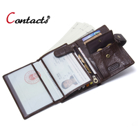 Contact's Passport Cover Genuine Leather Passport Holder Men Business Card Holder Male Wallet Coin Purse Travel Clutch Money Bag