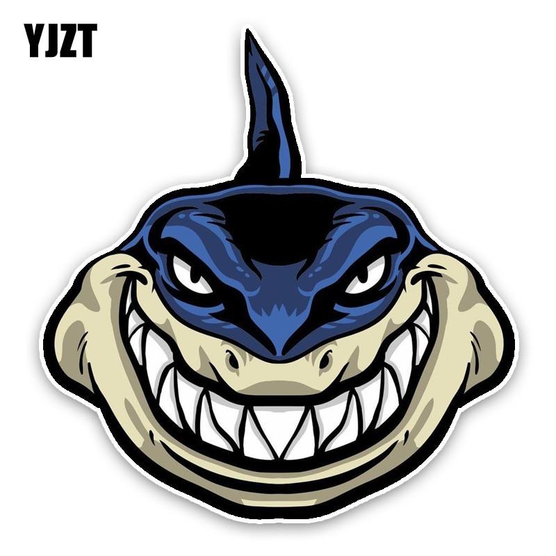 YJZT 13.6*14.2CM Lovely Shark Cartoon Colored PVC Car Sticker Bumper Window Graphic Decoration C1-5333