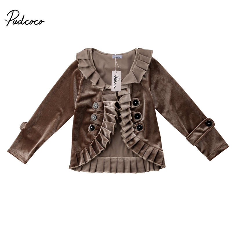 93b98e76d63 Detail Feedback Questions about 2018 Vintage Style Spring Autumn Kids Girls  Ruffles Velvet Long Sleeve Cardigan Jacket Toddler Baby Coat Outwear  Clothes 2 ...
