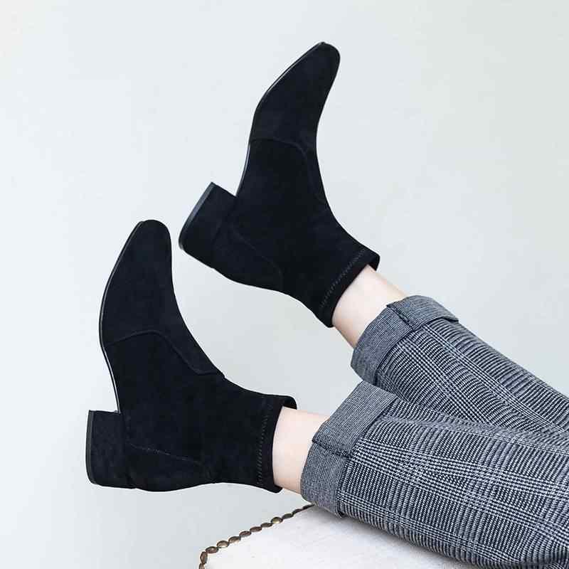 Superstar üzerinde kayma kare ayak med topuk kadın yarım çizmeler pist streç çizmeler muhtasar ofis bayan düz sıcak kış ayakkabı tutmak l11
