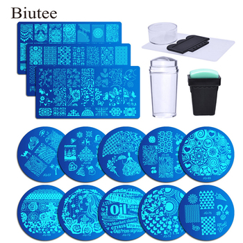 Biutee 13Pcs Lace Rose Flower Forest Image Nail Plates + 2 Stamper Scraper Set Nail Art Stamping Nail Stamp Plate Nail Art Tools