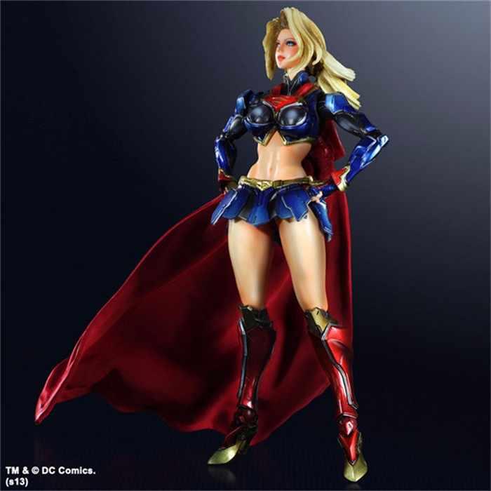 Supergirl Hành Động Hình Superhero Mô Hình Đồ Chơi PLAY ARTS Di Chuyển Hình 260 mét Anime Movie Mô Hình Siêu Phụ Nữ Playarts Kai PA19