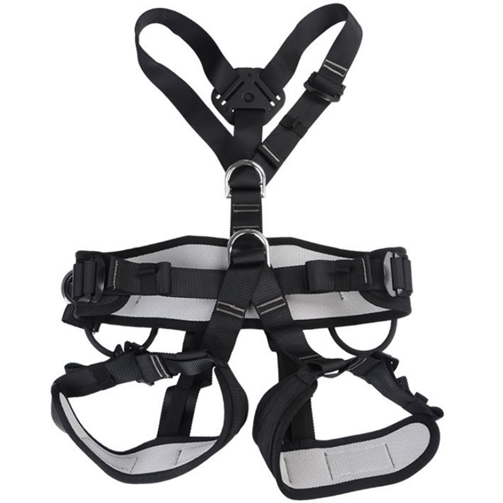 Outdoor Rock Tree Climbing Rappelling Full Body Safety Belt Harness Black for Camping Hiking Carving Equipment