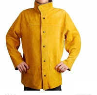 Premium Cowhide Leather Welding Jacket Apron Welder Glove Clothes Sleeve Oil Industry Clothing CE UL Golden