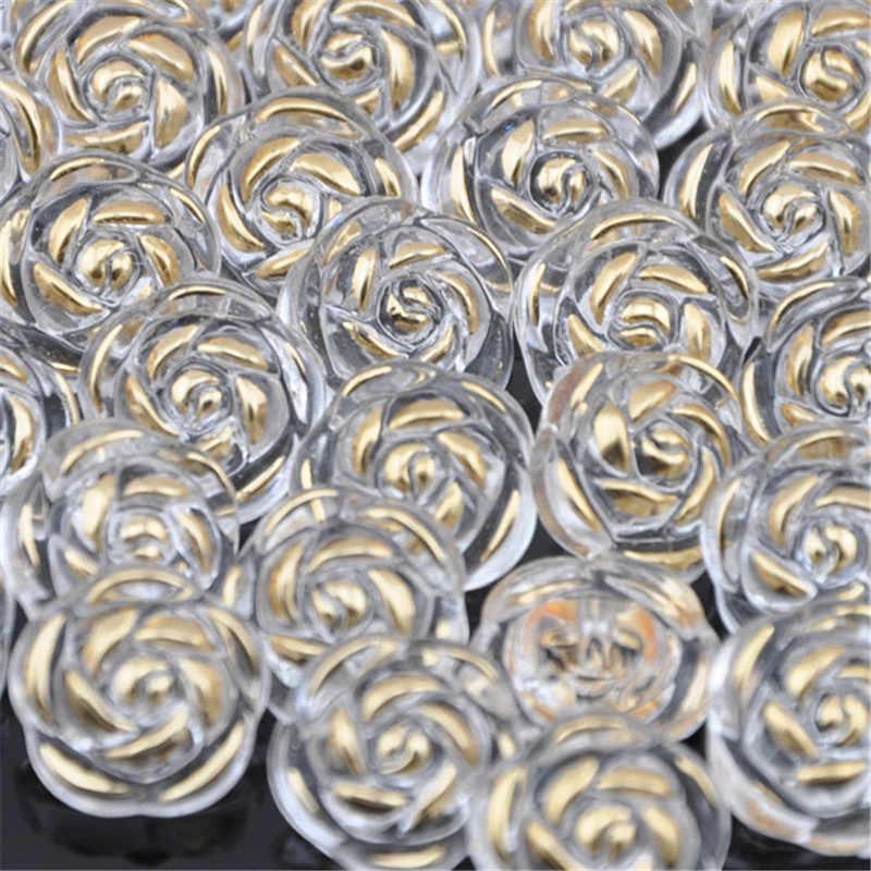 10/50/100 pièces bouton en plastique acrylique Rose trou droit couleur blanche livraison gratuite PT60