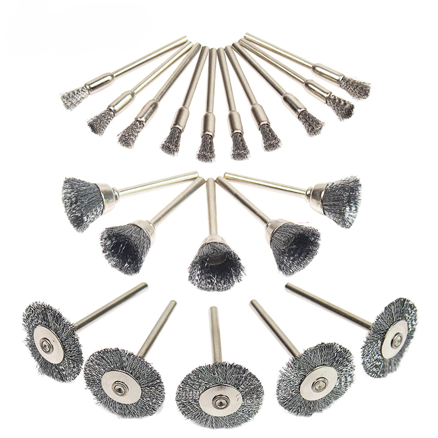 Wheel Dremel Wire Steel Brush 20PCS/Set Set Dremel Tools Accessories Burr Abrasive Head Deburring Drill Tools Wheel For Mi