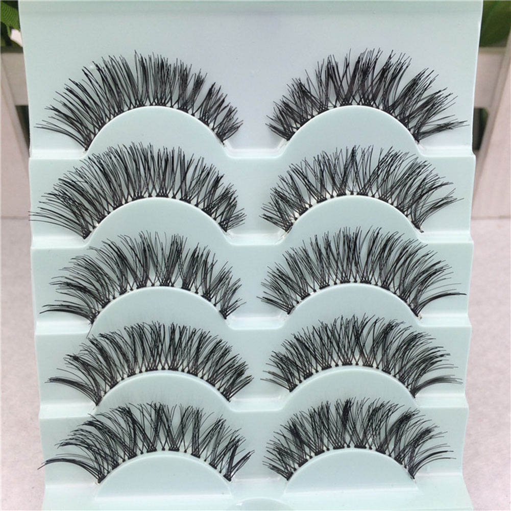 False Eyelashes 5 Pairs/set Womens Sexy Pure Hand-made Black False Eyelashes Thick Long Voluminous Fake Lashes Makeup Beauty Tools Hot Quality And Quantity Assured Beauty Essentials