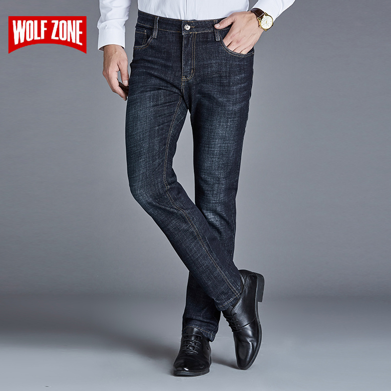 Regular Brand Designer Straight Men Jeans Winter Fashion Length Trousers High Quality Exquisite Zipper Male Adult Casual Jeans