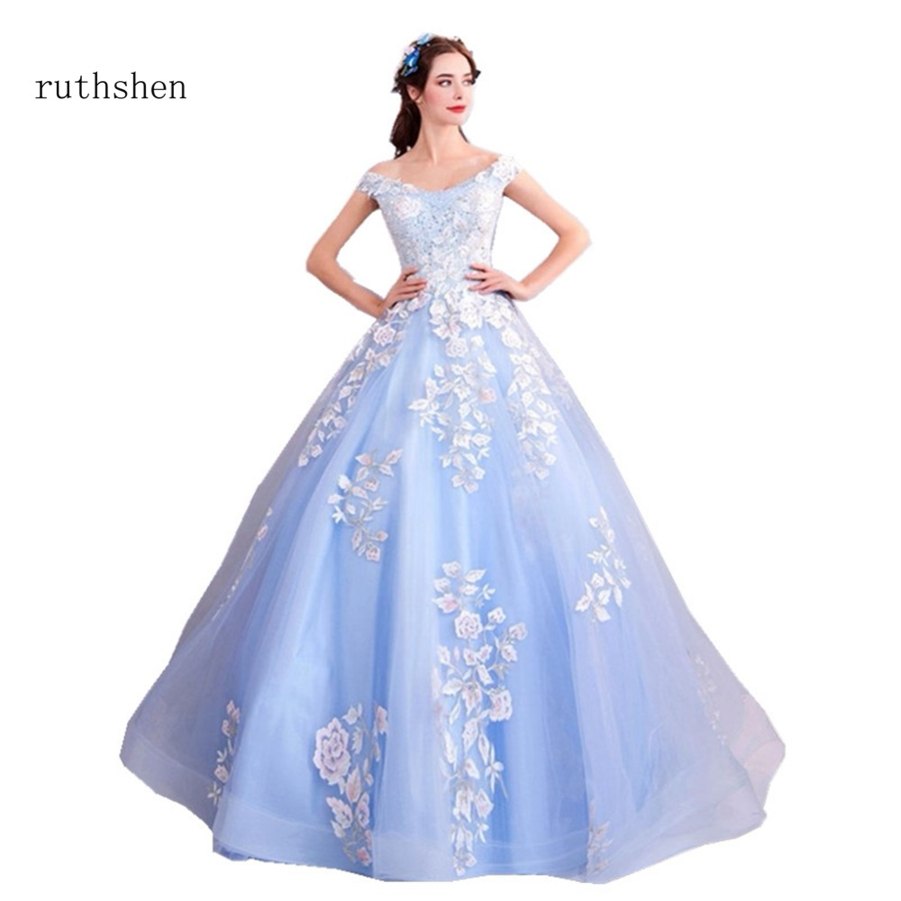 ruthshen Sexy Off The The Shoulder Long   Prom     Dresses   Appliques Flowers Evening   Dresses   Luxury Elegant Robes De Soiree 2019