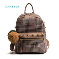2017 Wool Plaid Backpack With Hairball Fashion Rivet Decoration Travelling Women S Bag Khaki Elegant Backpack