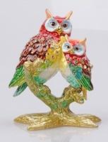 Owl Mommy and Baby Trinket Box Jeweled Pill Box Decorative Animal Rhinestone Display Statue