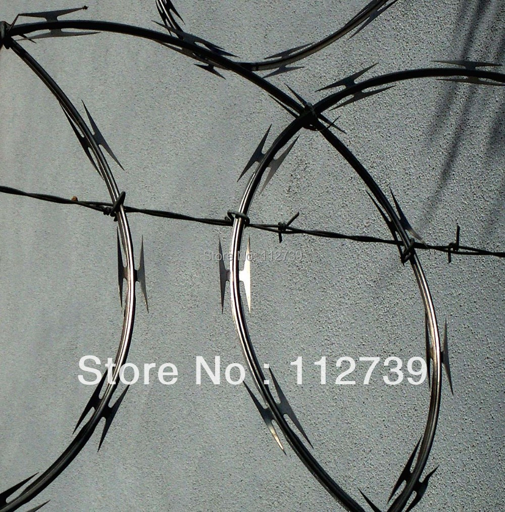 Razor Wire Mesh On The Top Of Chain Link Fence For Prison Protection ...
