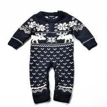 2016 Autumn baby snow deer cotton climbing clothes baby knit warm thermal Sweater climb clothes baby