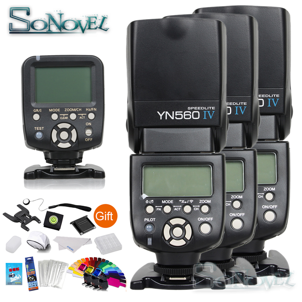 Yongnuo YN-560TX Wireless controller trigger + 3x YN-560IV YN560IV LCD display 2.4G Wireless flash for Nikon Canon SLR camerasYongnuo YN-560TX Wireless controller trigger + 3x YN-560IV YN560IV LCD display 2.4G Wireless flash for Nikon Canon SLR cameras