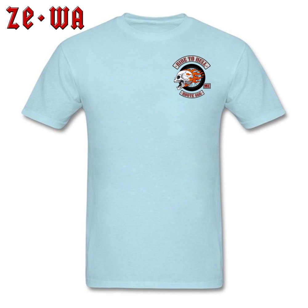 2018 最新の男性のゴシック tシャツ炎スカルライダーに地獄ルート 666 クール tシャツ綿 100% ショートスリーブプリントトップ tシャツ