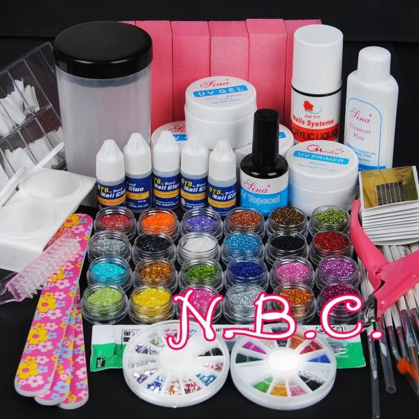Pro Nail Art UV Gel Kits Tool 12 Glitter 12 Stripe Brush Remover ...