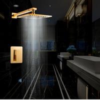 Dofaso 20*20cm Luxury Embedded gold Shower Panel wall mount shower faucet rain shower gold set wall mounted concealed shower set
