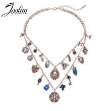 Joolim Navy Blue Lionhead Statement Collar Necklace 2 Rows for Women