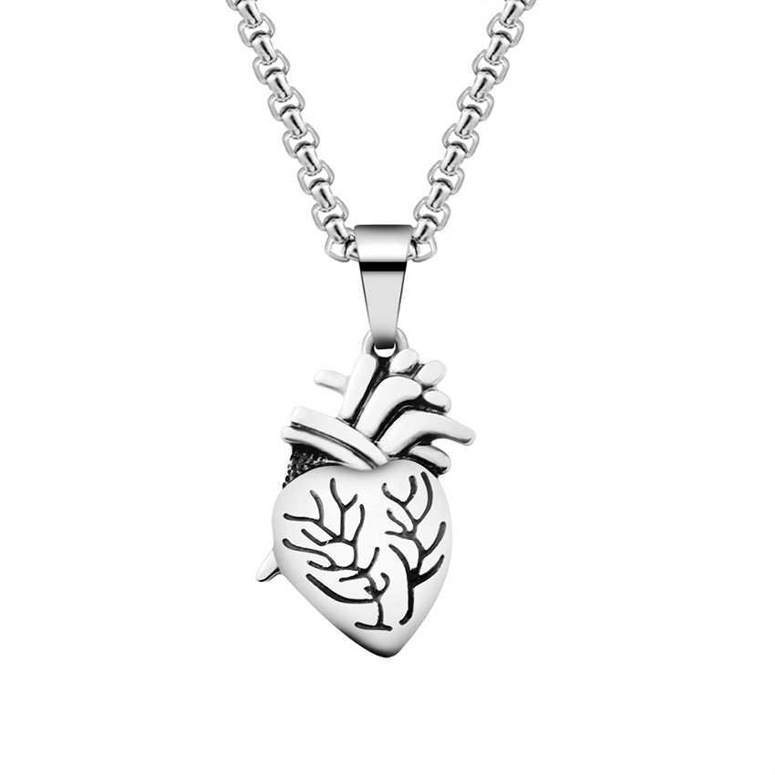 W stylu Steampunk anatomiczne serce wisiorek naszyjnik ze stali tytanu prostokąt serca naszyjnik zestaw mężczyzn boże narodzenie Halloween biżuteria