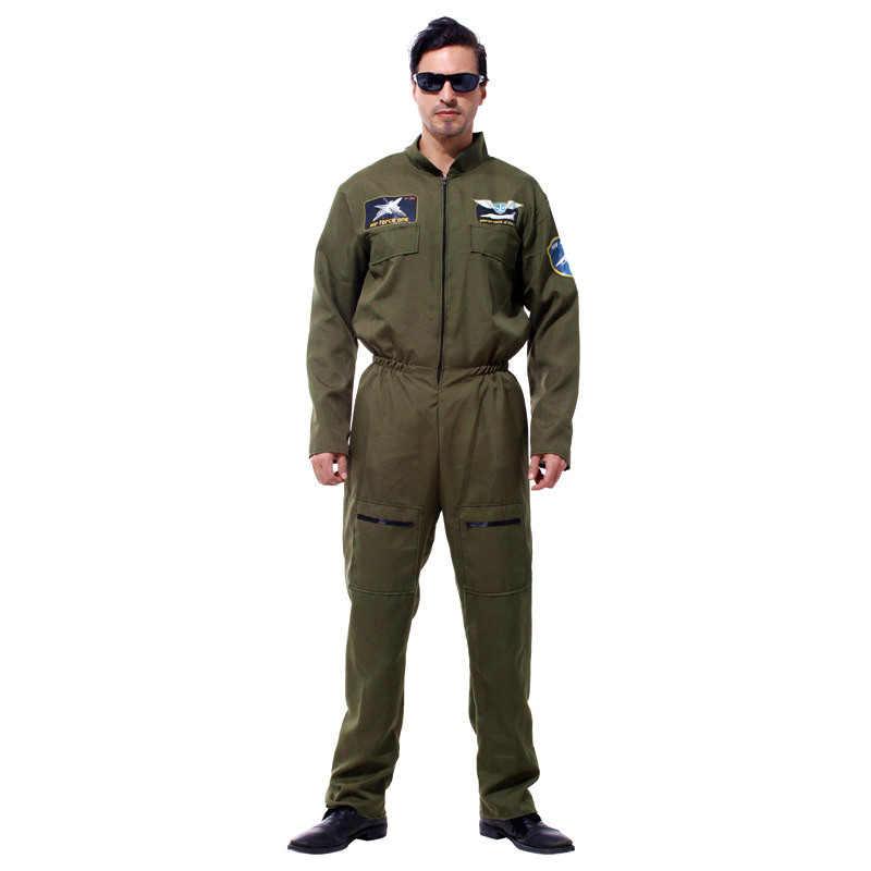 HUIHONSHE Men Pilot Aviator คอสเพลย์ฮาโลวีนกองกำลังพิเศษชุดอีสเตอร์ Purim Carnival Masquerade Party Camouflage