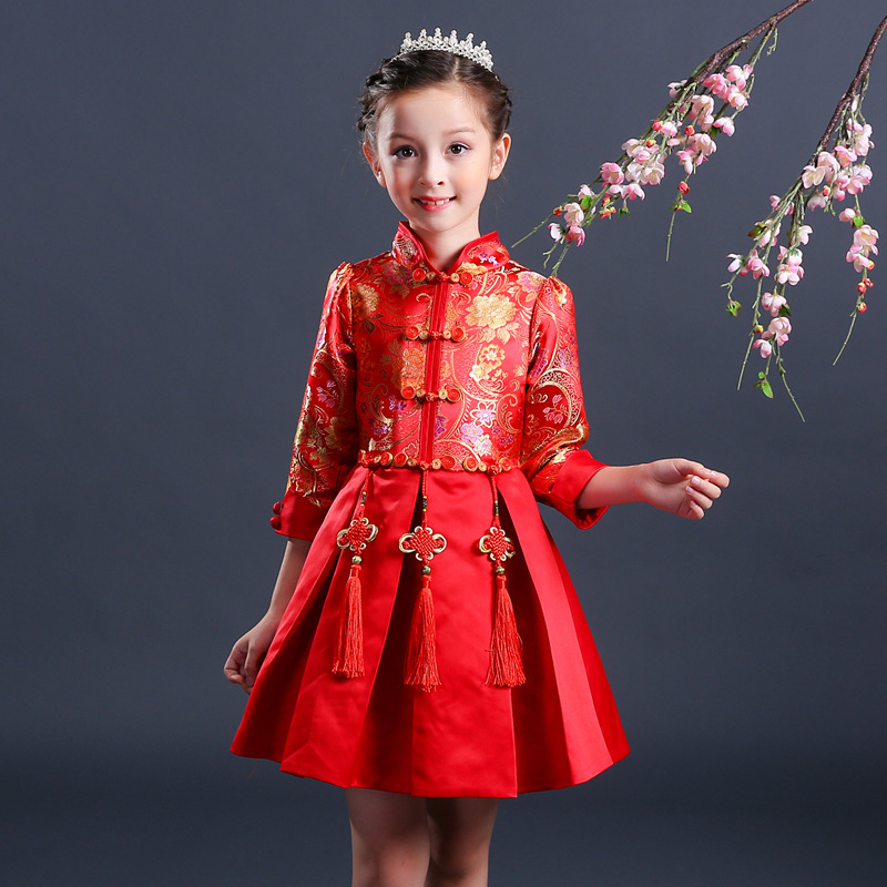 2018 Autumn New Chinese Style Flower Girls Christmas Dress Kids Baby Teenagers Long Sleeve Red Cheongsam Party Formal Dresses 2017 autumn chinese style girl dress cotton short sleeve chinese cheongsam for kids baby girls qipao girls clothes