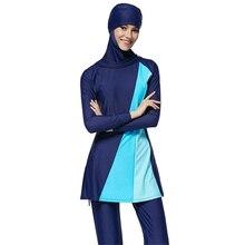 Zon Marineblauw Moslim Zwemmen Kleren Volledige Cover Modest Islamitische Hijab Badmode Badpakken Burkinis voor Vrouwen Meisjes