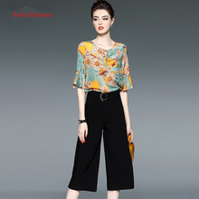 Fairy Dreams Two Piece Set Women's Print Tops And Pants Suits Black Trousers Fashion Plus Size Clothing XXL Casual Silk Shirt
