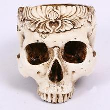 European Style Beige Flower Pot Skull Head Planter Fruit Plate Storage Container Decoration Resin Crafts Home Decor
