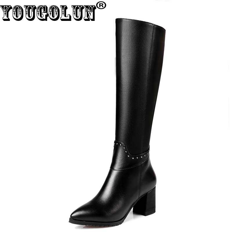 YOUGOLUN Women Knee High Boots Autumn Winter Genuine Leather Black Thick Heel 6 cm High Heels Rivets Pointed toe Shoes #Y-206 photo