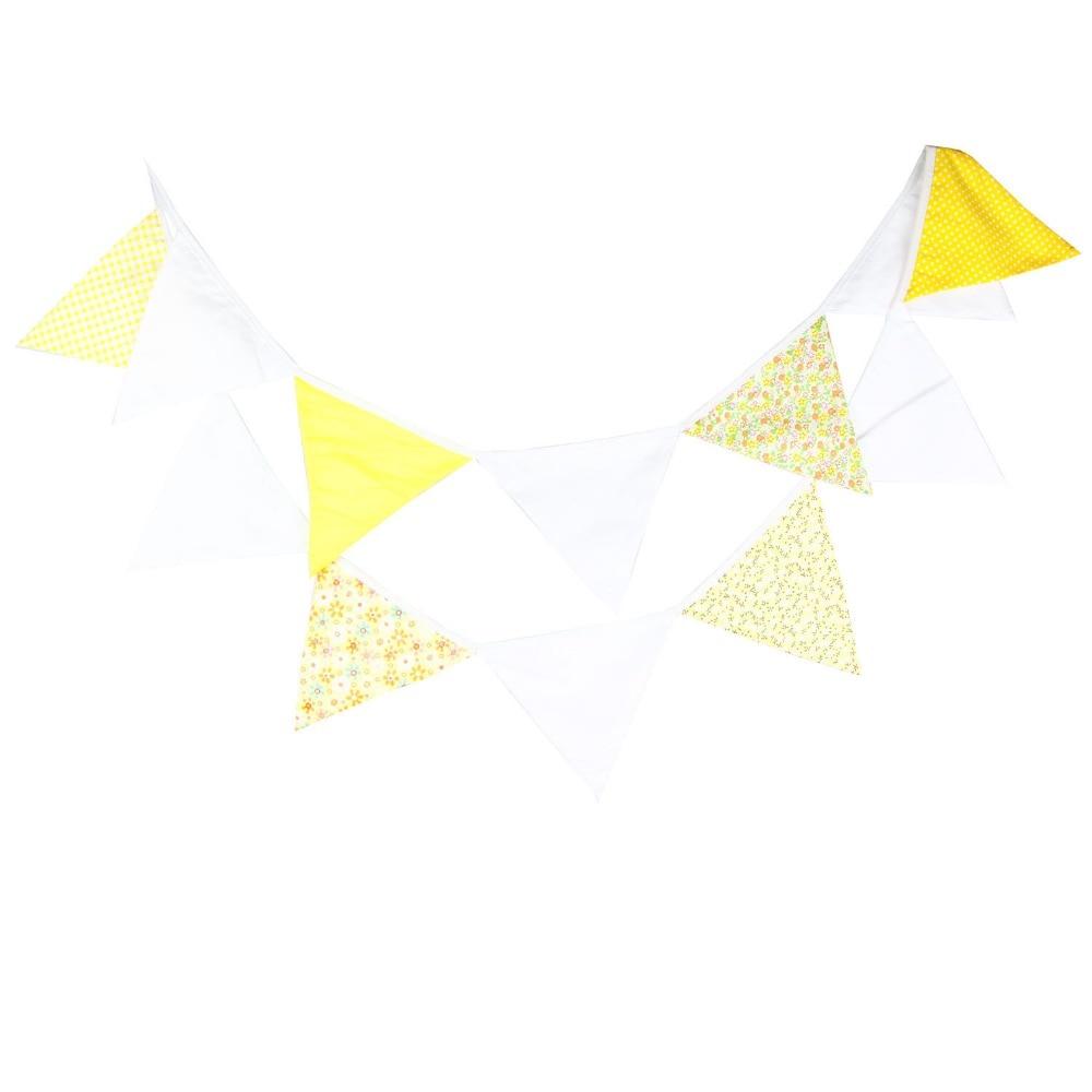 fêtes, Fait main jaune et blanc Coton Bunting mariages