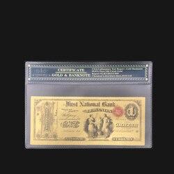 Wishonor 1875 американская цветная Золотая банкнота, 1 доллар, купюры в 24 к позолоченная Золотая бумага, Реплика для коллекции