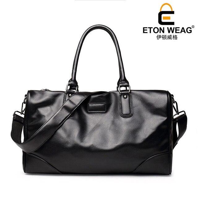 ETONWEAG Brand Cow Leather Traveling Bag Vintage Travel Bags Hand Luggage Black Zipper Duffle Bag Big Capacity Organizer Luggage 5