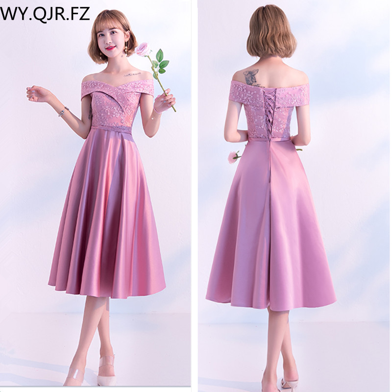 KBS036#Boat Neck Medium Pale Mauve Lace Up Bridesmaid Dresses Wedding Party Dress Girl Prom Gown Wholesale Fashion Women Clothin