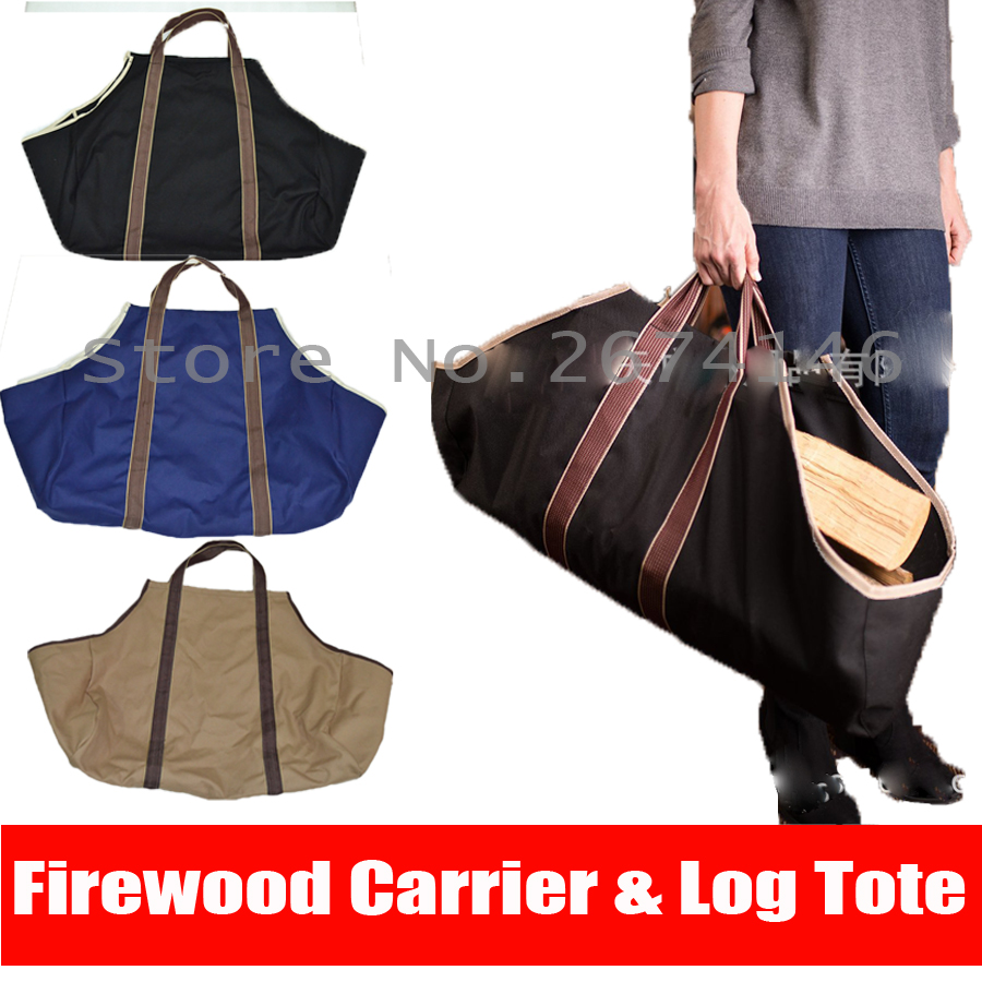 buy heavy duty canvas firewood log tote bag logging firewood storage package carriers for fireplace birchwood rack round by wood from - Firewood Carrier