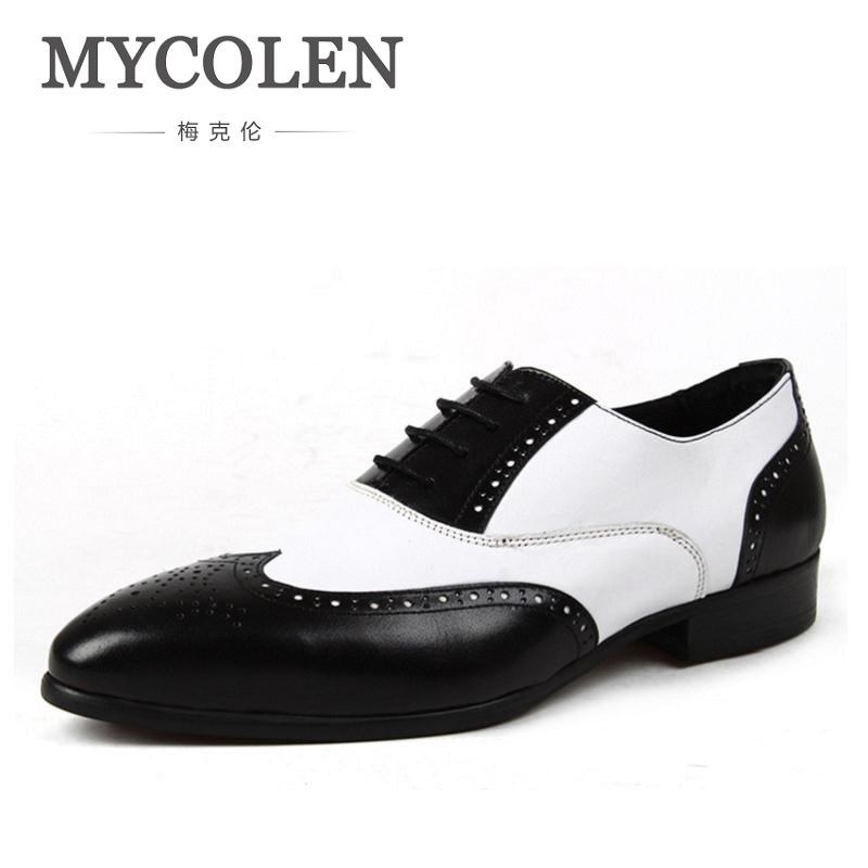 цены MYCOLEN Modern Gentlemen Pointed Toe Formal Oxfords Genuine Leather Mens Wedding Party Black Dress Shoes Man Wingtip Brogue