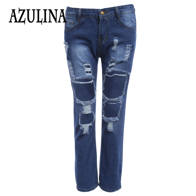 AZULINA Blue Knee Ripped Regular Straight Cropped Pants Women Fashion Trousers With Big Hole Mid Waist Streetwear Denim Jeans