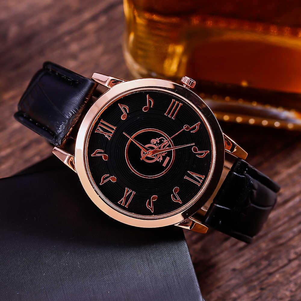 المرأة موضة الموسيقية ملاحظة ساعة عادية كوارتز التناظرية ساعة جلدية ارتفع الذهب ساعة سيدة فستان ساعات relogio feminino