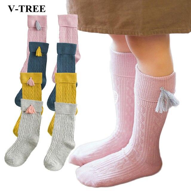 Borlas niños medias de algodón para las niñas niños rodilla alta ...