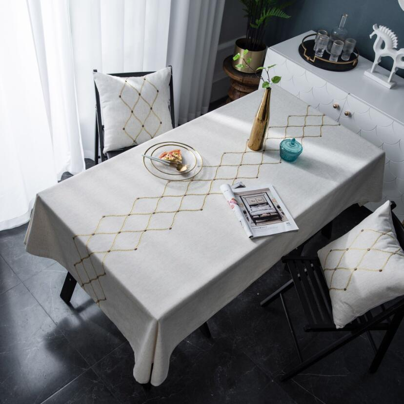 Luxury Gold Geometric Embroidery Tablecloth Waterproof Polyester Kitchen Dining Table Cover Dust Proof Europe Mantel Mesa ZC072