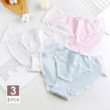 Plus Size Womens Cotton Briefs Sexy Lace Bow Embroidery Kawaii Cute Cotton Female Underwear Women Panties Large Sizes 5XL 6XL
