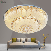 Luxury Lustre K9 Cristal Plate Chrome Led Ceiling Lamp Remote Control Modern Foyer Crystal Round Ceiling