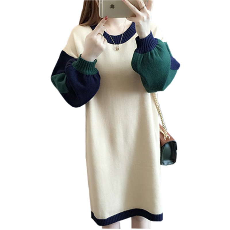 Good Quality 2017 New Autumn Winter Knitted Thick O-Neck Dress Women Casual Fashion Winter Patchwork Sweater Dress PW1080