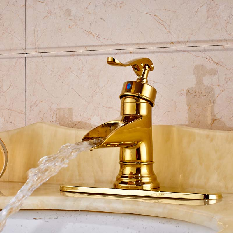цена на Free Shipping Golden Bathroom Sink Faucet Deck Mounted Single Handle Mixer Tap With Cover Plate