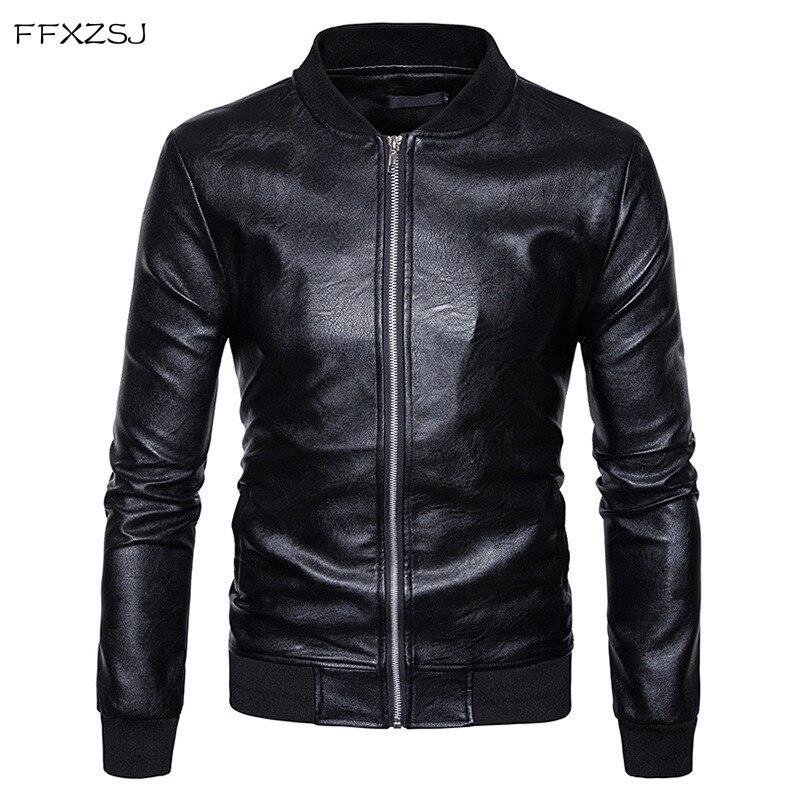 Men PU Leather Jacket 2018 Casual Stand Collar Mens Winter Leather Jacket Zipper Pocket Varsity Baseball Leather Jackets Coats