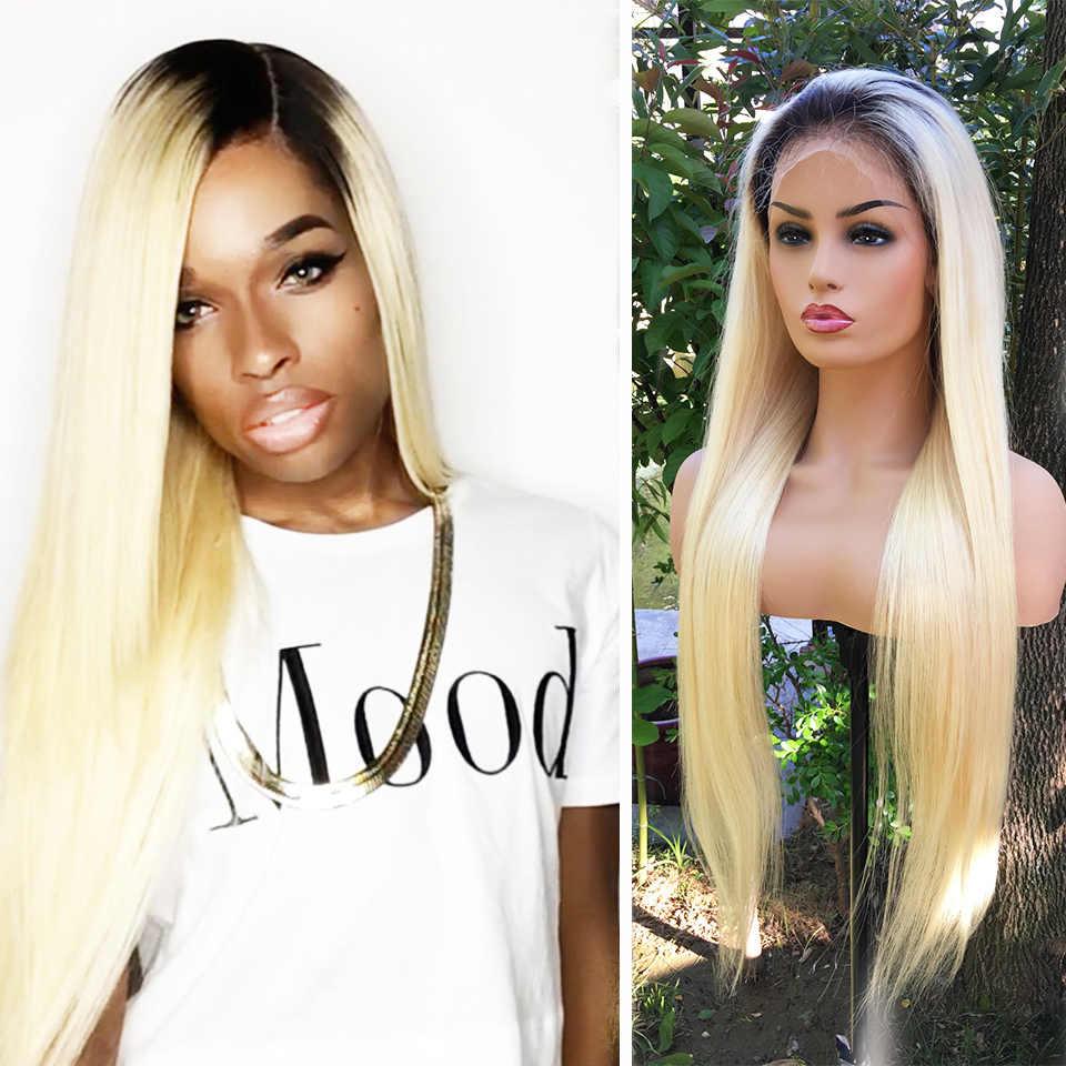 Pelucas de pelo humano frontales de encaje Rubio de raíz oscura para mujeres negras 1B 613 Remy brasileño peluca Frontal rubia con el pelo del bebé Ilaria