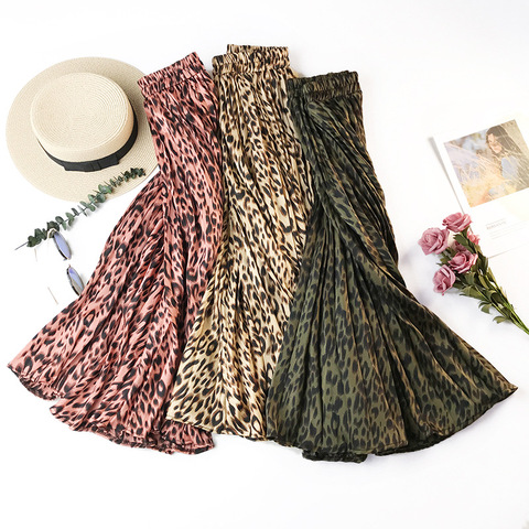 TIGENA Fashion Leopard Skirts Women with Lined 2019 Autumn Winter High Waist Pleated Midi Long Skirts Female Korean Skirt Ladies Lahore