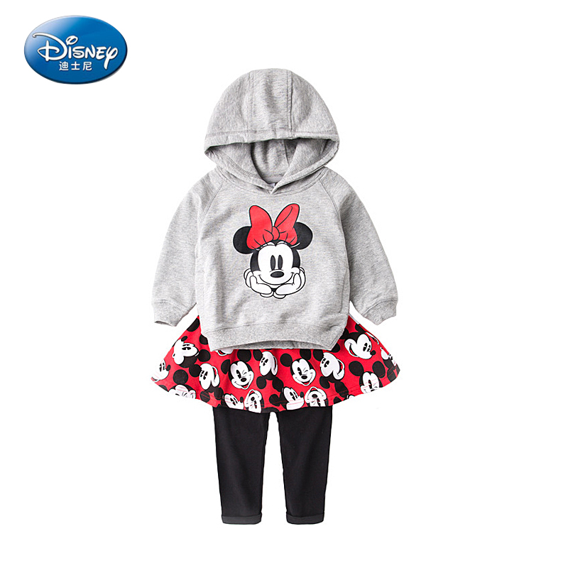 Disney Children 2pcs Suits Sets Minnie Girls sweater+dress cotton casual hooded cartoon cute Mickey baby clothes set top quality girls knitted dress sets children turtleneck long sleeve sweater suspenders two piece dress sets kids casual dress suits