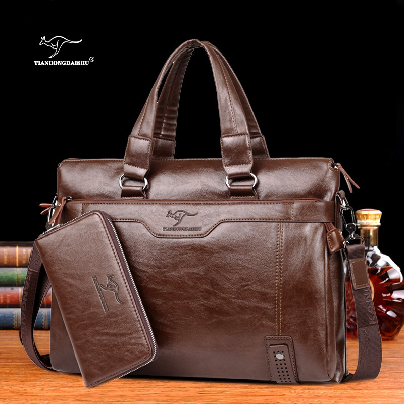 Men Casual Briefcase Business Shoulder Leather Messenger Bags Computer Laptop Handbag Men's Travel Bags Handbags
