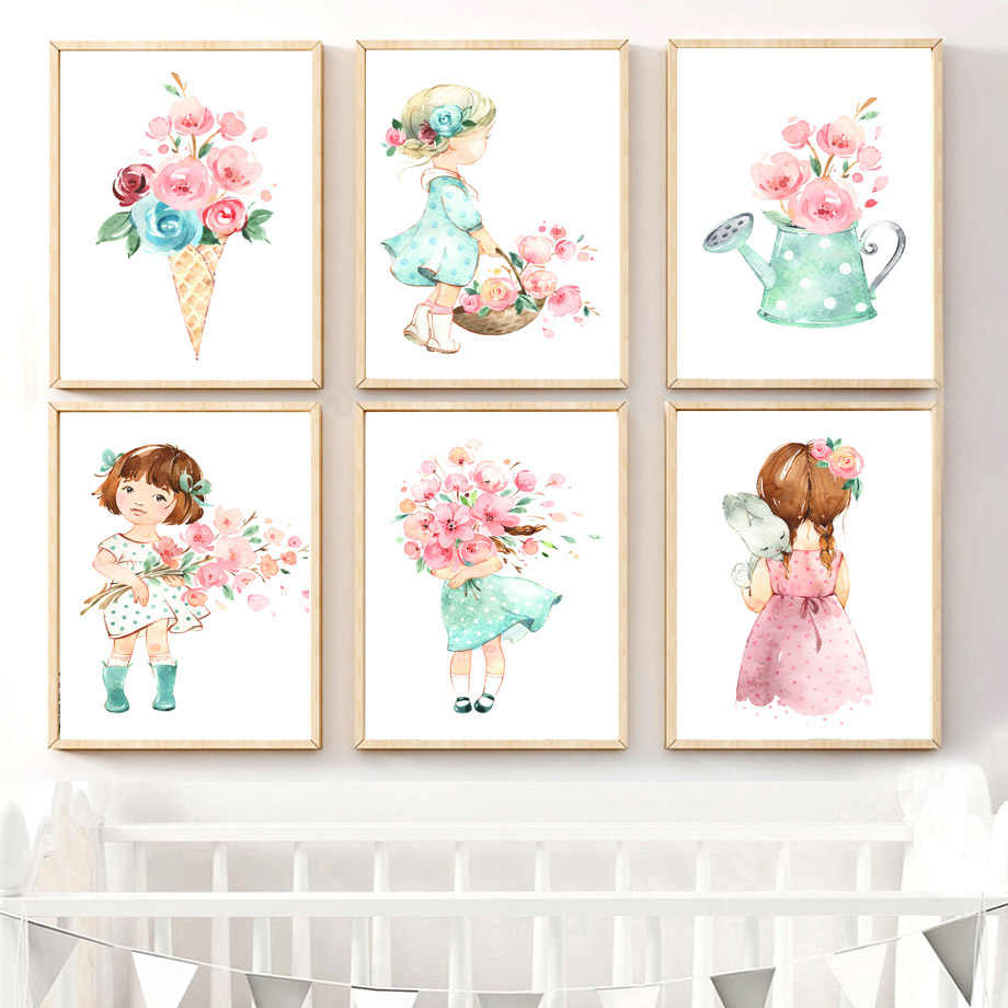 Cute Baby Girl Rose Flower Umbrella Nordic Posters And Prints Wall Art Canvas Painting Nursery Wall Pictures For Kids Room Decor